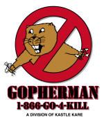 gopherman logo, gopher, rodent, pest, weeds, landscape