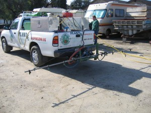 kastle kare truck, weeds, spraying lawn, landscape, plant disease