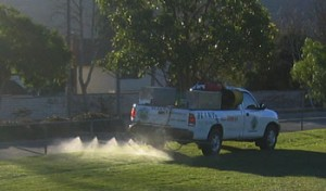 truck spraying lawn, weeds, landscape, plant disease, insects