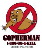 gopherman logo, gopher, rodent, pest, weeds, landscape